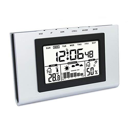 HOCOVER Temperatur- und Luftfeuchtigkeitsmessgerät Innenbeleuchtung Elektronische Digitale Vorhersage Wetterstation Home Outdoor Indoor Kalender Thermometer.
