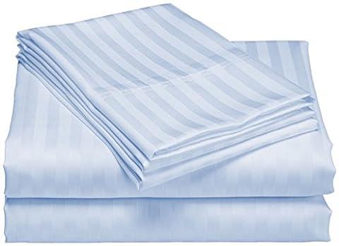 scalabedding Tasche Tiefe 100% ägyptische Baumwolle 500TC 63,5cm Blatt 2Stück–gestreift blau himmelblau