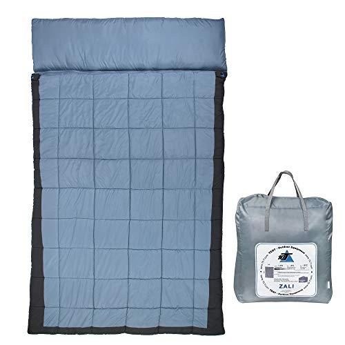 10T Doppel-Schlafsack ZALI DUO -19°C 2 Personen XXL Deckenschlafsack 230x150 Blau / Grau (Für Doppel Schlafsack Erwachsene)