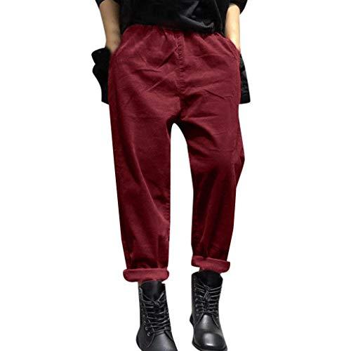 XNBZW Damen Feste Baumwoll Elastische Taillen-Harem-Taschen Keucht Breites Bein Beiläufige Jogger Hosen Pumphose Haremshose Pluderhose(Rot,XL)