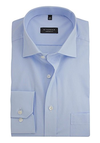 eterna Langarm Hemd Comfort Fit Popeline Unifarben 63 hellblau