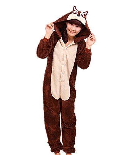 Samgu-Blumen-Geist Ratte Tier Onesie Pyjama Kostüme Schlafanzug Erwachsene Unisex (Baby Kostüm Ratte)