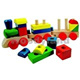 große Eisenbahn aus Holz / Steckspiel Holzeisenbahn mit Bausteine - Holzspielzeug - Kinderland - Motorik Motorikspielzeug Zug Züge