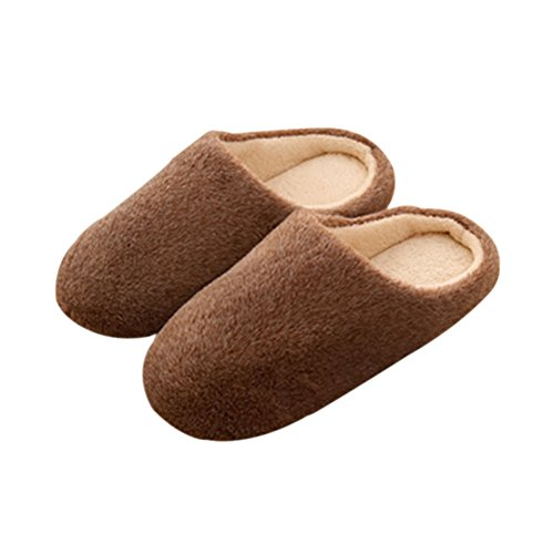 Zhuhaixmy Anti-Slip Baumwolle slippers Weich Indoor Hausschuhe Flats Home Schuhe Brown