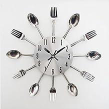 FEITONG Diseño moderno de la cuchillería de plata Utensilios de cocina del reloj de pared del reloj Cuchara Tenedor