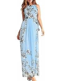 Simple-Fashion Donne Estivo Vestiti con Bende Quotidiani Moda Lungo Abiti  da Partito Casual Floreali 0deebaade88
