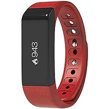 Viwel® i5 plus Pulsera Actividad de , Pulsera Inteligente Impermeable Smart Bracelet Smartband Wristband Fitness Tracker OLED Táctil con el Podómetro, Monitor de Dormir Calorías, Mensaje Push para Android, iPhone iOS Rojo