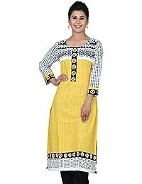 Chhipaprints Stylish Embroidery Work Women Kurta Yellow