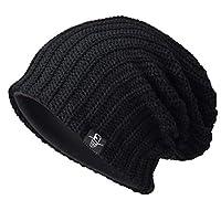 Ruphedy Men Beanie Knit Hat Oversized Slouchy Skull Cap for Winter N010 (B019-Black)