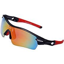 Gafas de Sol Deportivas Polarizadas,Carfia TR90 UV400 Unisex Gafas de Sol Deportivas Polarizadas a prueba de Viento 5 Lentes de Cambios Incluido para Deporte y Aire Libre Ciclismo Conducción Pesca Esquiar Golf Correr C