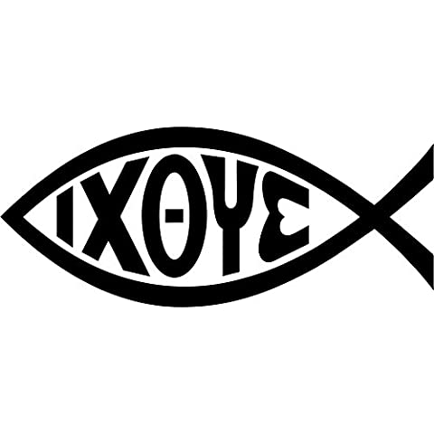 Adesivo per Macbook, computer, auto, motivo: pesce, cristiano, Gesù, con scritta Ixoye