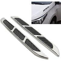 2 Pezzi Bonnet Air Flow Vent Fender Sticker per Auto Decoration, Size: 36.5cm x 3.5cm x 1cm