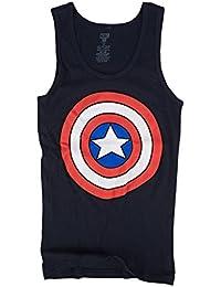 Marvel Captain America Shield Logo Juniors Navy Blue Tank Top Shirt
