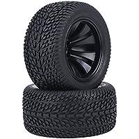 Dilwe 2Pcs RC Neumáticos del Coche, Neumáticos de Goma y Rueda de Cubos de Plástico