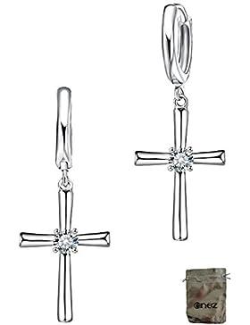 Original Enez Kreuz Ohrringe Creolen echt 925 Silber L:3,0cm T097o + Geschenkbeutel