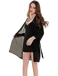 Aivtalk Mujer Pijama Camisón Vestido de Escote V Transparente Seducción Chemise Picardías Ropa de Dormir Ropa de Noche con Bata Lencería de 2 Piezas Talla M/L/XL 2 Colores a Elegir
