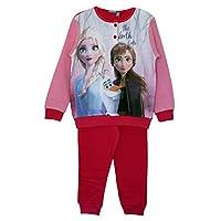 Disney Frozen Elsa and Anna pluche katoenen pyjama-overhemdset, pyjama met omgeslagen mouwen, lange mouwen, loungewear voor meisjes (Roze, 5 Jaar)