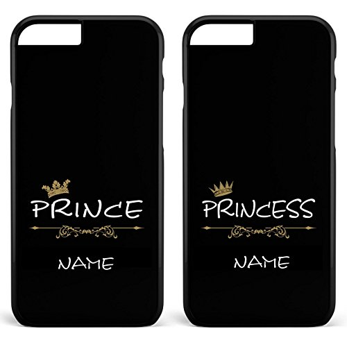 *Prince & Princess / Pärchen Doppelhülle * Apple iPhone 5 6 7 Galaxy S5 S6 S7, Handymodell:Samsung Galaxy S7, Farbe & Namen:Schwarze Hülle / Schwarzes Motiv + Namen*