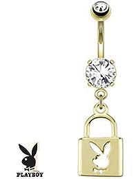 Lovepiercing Robin - Piercing para ombligo, chapado en oro, diseño de candado con el logotipo del conejito de Playboy
