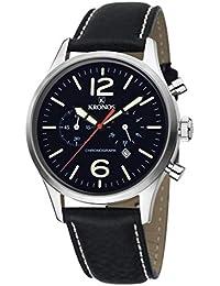 KRONOS - Pilot Chronograph Black 797.55 - Reloj de Caballero de Cuarzo, Correa de Piel