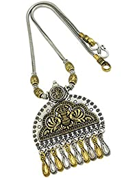 High Trendz Oxidised Gold Silver Dual Tone German Silver Gypsy Style Statement Pendant Necklace Jewellery For... - B0773NJ44V