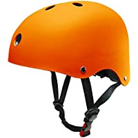 Casco Tamaño Ajustable SKL Mall Cascos Deportivos Infantiles 48-52cm Monopatín Patinete Transpirable (Negro) (Naranja)