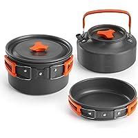 Aitsite Camping Kit de Utensilios de Cocina al Aire Libre de Aluminio Ligero Camping Pot Pan Set de Cocina para Acampar yendo de excursión (Orange)