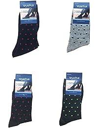 Yanoir 4 Pares Calcetines Calcetines Cortos (Meta Gemelo) Hombre Algodón Textura Fina y