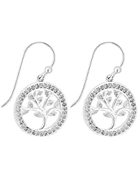 0211895c8 Simply Silver Women's Sterling Silver Cubic Zirconia Tree Of Life Drop  Earring