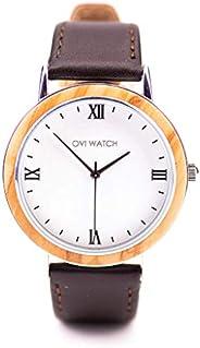 Ovi Watch, Orologio Legno Con Cinturino In Nero in Vera Pelle