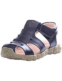 Eagsouni® Unisex-Kinder Geschlossene Sandalen aus weichem Leder Outdoor Trekkingsandalen Lauflernschuhe Klettverschluss,Gr.21-33