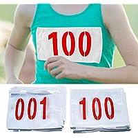 001-100 Números de Babero de Carreras, Números de Competidor Oficial de Carreras, Números de Cadera de algodón poliéster Resistente al desgarro para Atleta de Campo