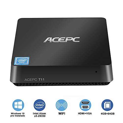 "ACEPC T11 Micro Mini PC Intel Cherry Trail senza ventola Windows 10 Pro(64 bit) Desktop Computer[4GB DDR/64GB EMMC/supporto 2,5""mSATA SSD/Dual Band WiFi/BT 4.2/4K]HDMI + VGA/1000Mbps LAN"