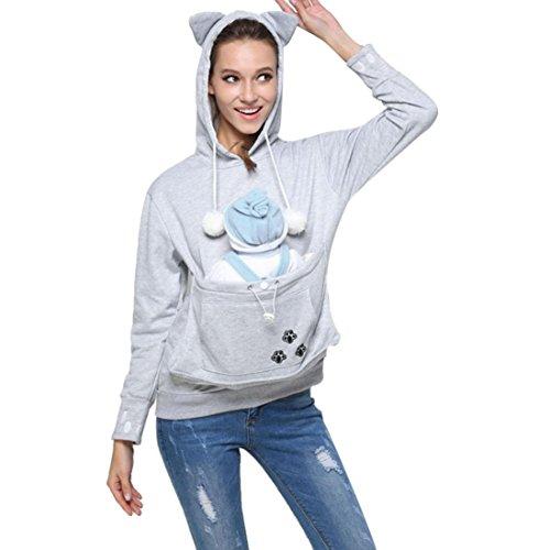 Portador de mascotas Amlaiworld Sudaderas con capucha de bolsillo grandes de mujeres Abrigos Tops Sostenedor del perro soporte para mascota gato perro canguro Carriers Pullover (Gris, L)