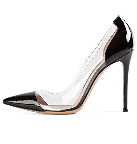 EDEFS Damen High-heels Pumps Pointed-Toe Lackleder Stiletto für Party Schwarz Größe EU40