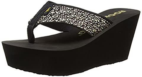 Rocket Dog Diver, Women's Wedge Heel Flip Flop, Black Coast/Eclipse, 6 UK