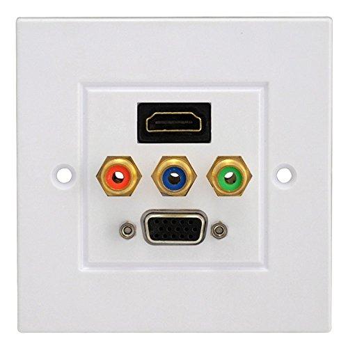 HDMI 3RCA VGA komponente Audio Video Composite Module HDTV wandplatte wanddose panel Dual-port-wall Plate