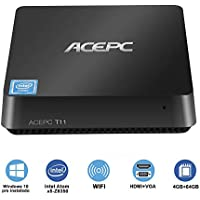 "ACEPC T11 Micro Mini PC Intel Cherry Trail senza ventola Windows 10 Home(64 bit) Desktop Computer [4 GB DDR/64 GB EMMC/supporto 2,5"" SSD/m SATA SSD/Dual Band WiFi/BT 4.2/4K]"