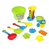 B Blesiya 12er-Set Sandkasten Spielzeug Set mit Sandmühle Wasserkanne Eimer Rechen Schaufel Sichter und Sandformen, aus Kunststoff