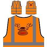 GLÜCKLICHE FROHE WEIHNACHTEN WEIHNACHTSROT LUSTIGE NEUHEIT NEU Personalisierte High Visibility Orange Sicherheitsjacke Weste l46vo