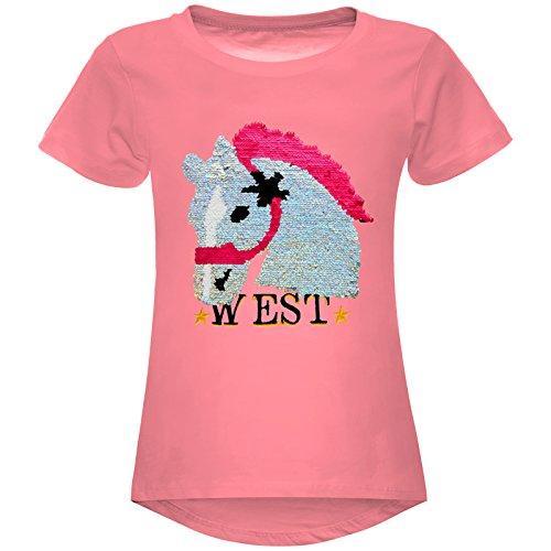 Mädchen Wende-Pailletten T-Shirt Pferd Motiv 22604 Dunkelrosa Größe 128