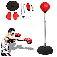 Punching ball adultes boxtr Cardio Kit Trainer Speed de stand Box Ball avec gants et support réglable Hauteur 120–150 cm Rouge