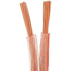 Câble d'Enceinte Transparent DCSk 15m - 2 x 2,5mm² | HP câble en cuivre OFC pour HiFi/Audio | câble de boîtier 99,99% cuivre avec Isolation