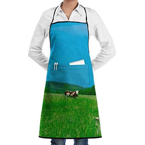lbare Latzschürze mit Tasche, Cow Eatting Glass Adjustable Schürze with Pocket & Extra-Long Ties, Men and Women Kitchen Schürze for Cooking, Baking, Crafting, Gardening, BBQ ()