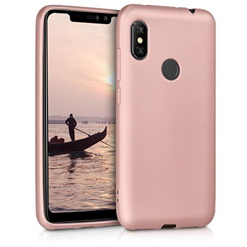 kwmobile Funda para Xiaomi Redmi Note 6 Pro - Carcasa para móvil en TPU Silicona - Protector Trasero en Oro Rosa Metalizado