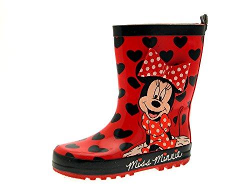 �dchen mit Minnie Maus von Disney, geeignet für Regen und Schnee, 3-D-Effekt, verschiedene Größen, Rot - Minnie - Bow - Größe: 33 EU (Monster High Stiefel)