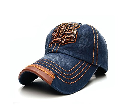 4sold JM Casquette visière Plate Homme Femme Hip hop Fashion NY New York (JB Navy Orange)