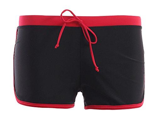 Hotpants/Bikinihose/Badeshorts/Panty in verschiedenen Farben! Formen einen knackigen Po und können nach Lust und Laune kombiniert werden, (Oct-flav-H9-f3427) Schwarz/Rot