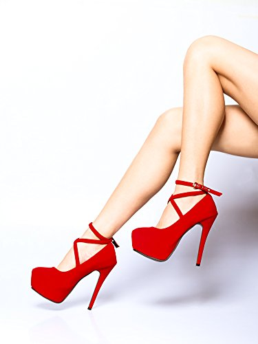 OCHENTA Damen Pumps Stiletto Klub Modisch Verschluss durch Schnalle #11 Red