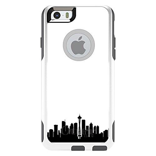 CUSTOM White OtterBox Commuter Series Case for Apple iPhone 6 PLUS (5.5 Model) - Seattle Skyline Silhouette